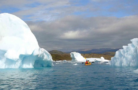 kayak in greenland, kayaking among ice