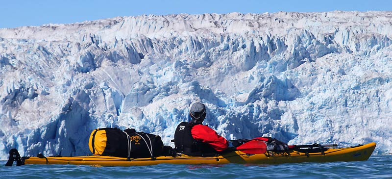 Greenland kayaking tours, glacier front