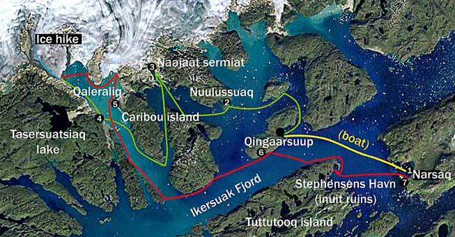Greenland kayaking tours 8 days map