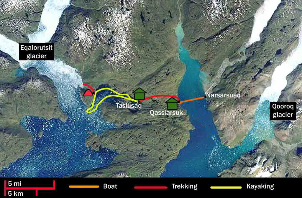 iceland greenland 4 day kayak map