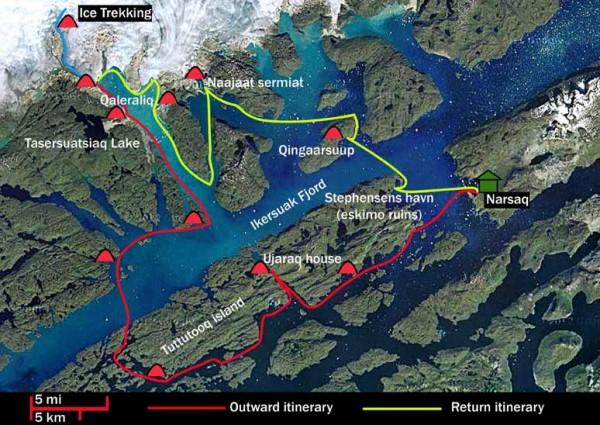 Kayak and glacier trekking 15 days map