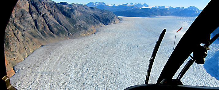 Greenland adventure tours, helicopter